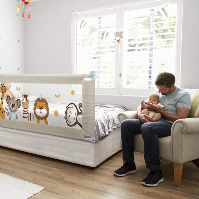 Fascol Barrière de Lit Enfant 180 x 93cm, Lit Bébé Barrière avec Tissu Oxford, Grande taille, Barrière de Lit pour Enfants de 1 à 7