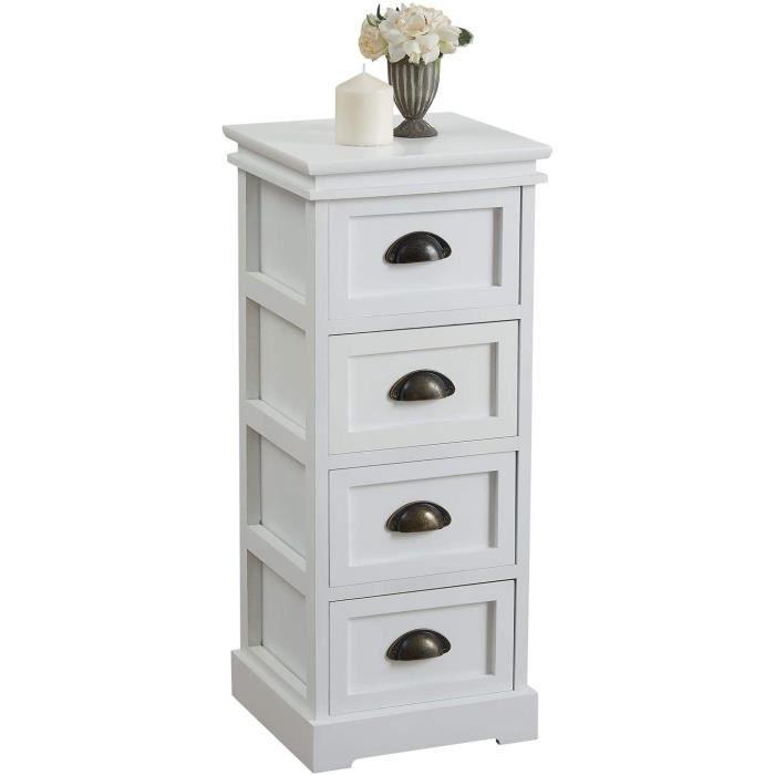 MEUBLE DE RANGEMENT IDIMEX Chiffonnier LANDHAUS Commode 4 tiroirs en Bois de Paulownia Style Shabby Chic Vintage Classique Blanc132