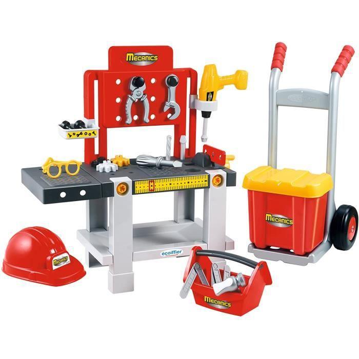 Jouets Ecoiffier – 2379 - Ensemble &Eacutetabli + caisse &agrave outils + diable pour enfants Mecanics – Jeu de bricolage – 22