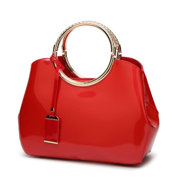Sac à main,Sacs à main en cuir verni pour femmes,s de bonne qualité,s de marques - Type Rouge