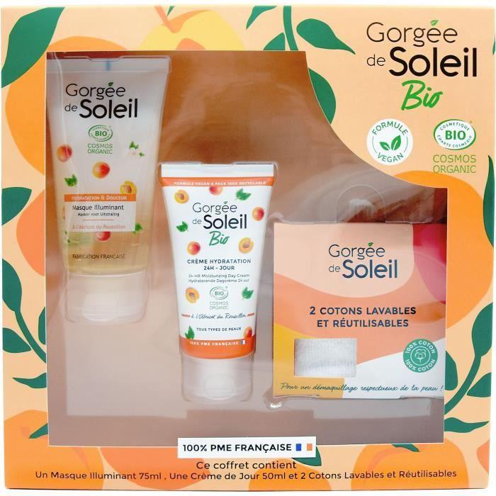 GORGEE DE SOLEIL Coffret soins visage Bio : Crème, Masque et Lingettes démaquillantes lavables