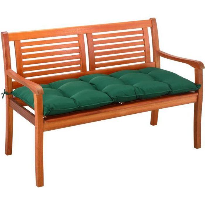 Coussin de banc avec attaches Vert 145x45x8cm Intérieur Extérieur Coussin pour banc Banquette 100% Polyester
