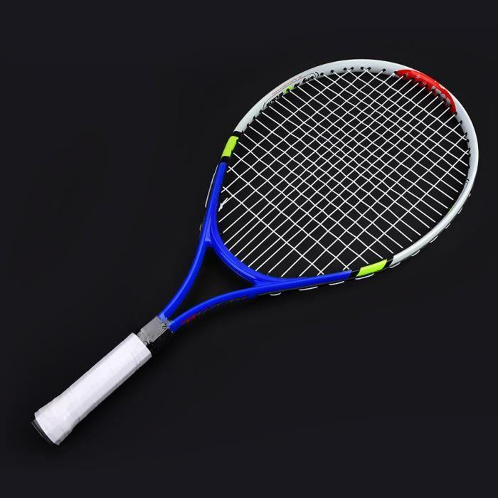 DUOKON Raquette de tennis simple à cordes durables pour l'entraînement des enfants (bleu)