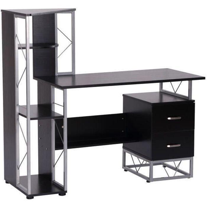 Bureau informatique design industriel 133L x 155l x 123H cm multi-rangements bibliothèque 3 étagères + 2 tiroirs MDF métal MDF noir