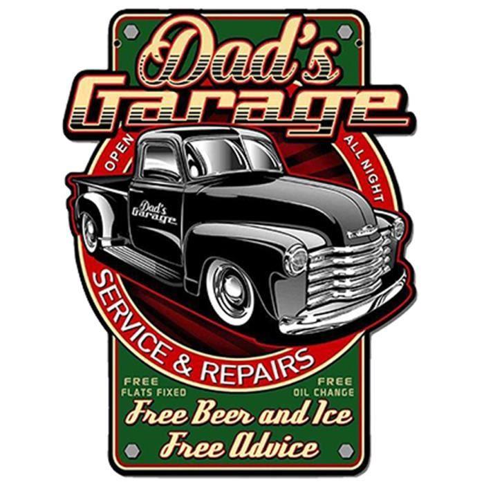 Plaque métal rétro 'Dad's Garage' rouge vert vintage - 48x36 cm [A2570]