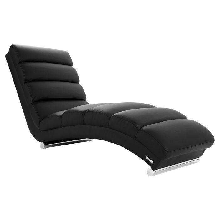 Miliboo - Chaise longue / fauteuil design noir TAYLOR