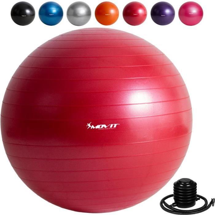 MOVIT Balle de gymnastique rouge, 85 cm avec pompe