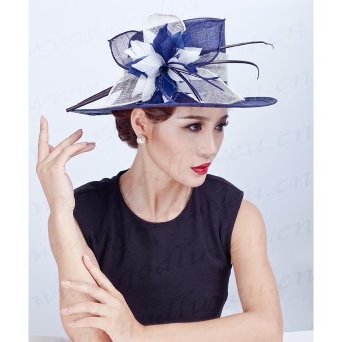 Femmes dames Elégante Chapeau de Cérémonie Retro Large Brim Chapeau Bibi Chapeau en Tulle pour Voyage Mariage Cérémonies