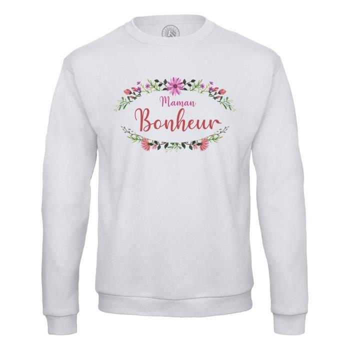 Sweat Shirt Homme Maman Bonheur Fleur Frise Florale Calligraphie Mignon