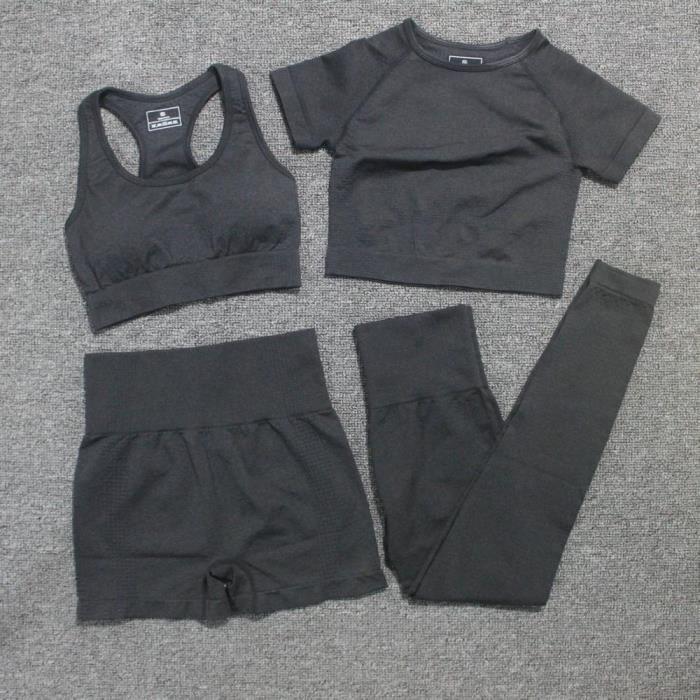 Textile Fitness - Danse,4 pièces-ensemble Yoga ensemble Leggings sans couture + haut court à manches courtes + soutien - Type Black