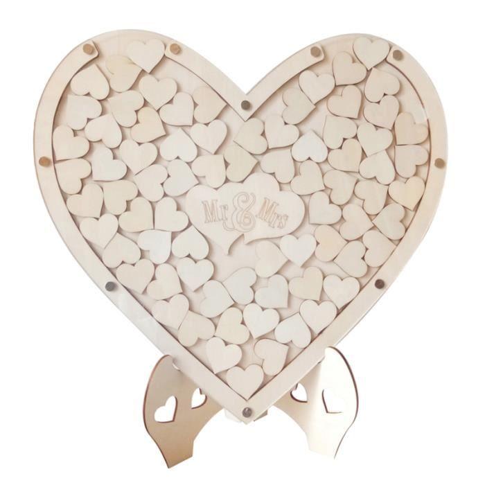 Livre d'or de mariage unique Coeurs en bois de visiteurs créatif (Grand cadre en + 75pcs de copeaux de de petits coeurs) BARBECUE