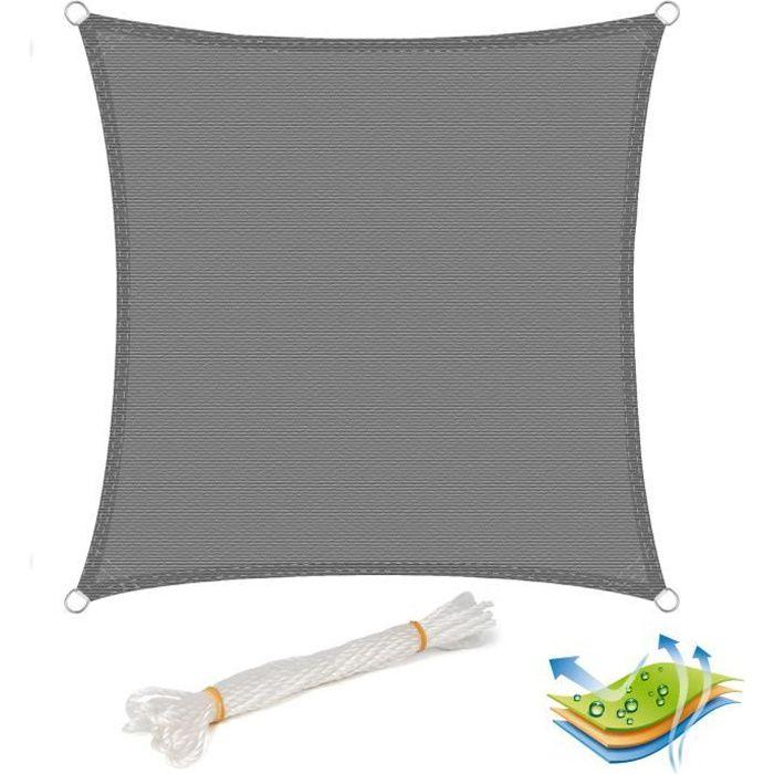WOLTU Voile d'ombrage carré en HDPE,protection contre le soleil avec protection UV pour jardin,terrasse ou camping,3x3m Gris