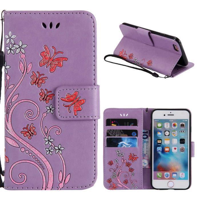 etui pour iPhone 6Plus - iPhone 6SPlus Violet, Premium les boîtiers de cartes et housse de Flip pochette