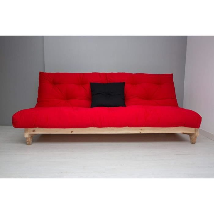 Canape Lit Convertible Fresh Naturel Futon Rouge 107 X 140 X 82
