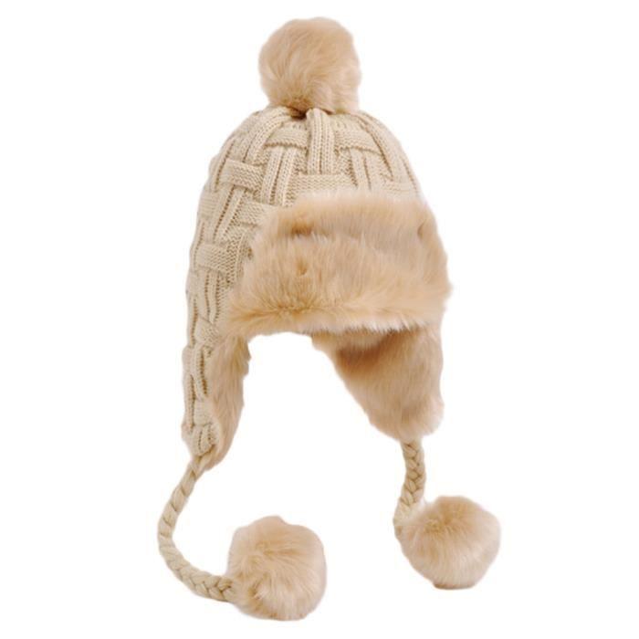 BONNET - CAGOULE Bonnet Laine Tricotée avec Strass à Pompon Detacha