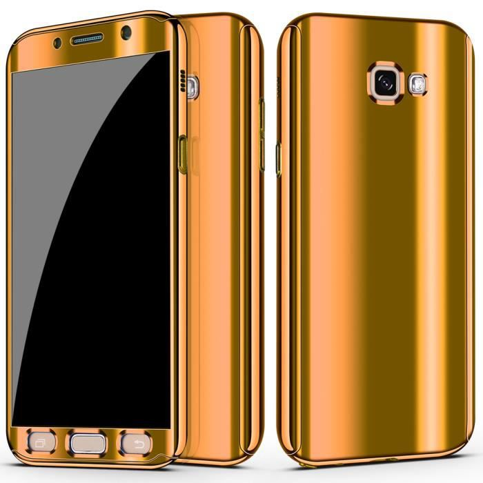 Coque Samsung Galaxy A5 2017 Placage PC Miroir Etui 2 en 1 360° Protection Intégrale Etanche Ultra Mince Housse Golden Film