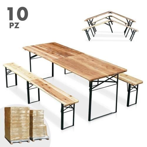 table de brasserie pliante bancs bois ensemble 220x80 10pz. Black Bedroom Furniture Sets. Home Design Ideas