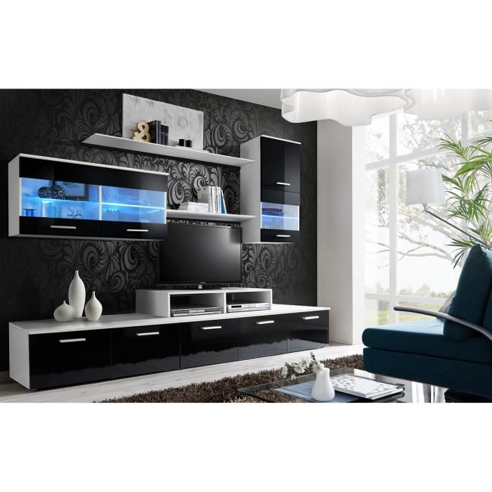 meuble tv complet suspendu logo coloris blanc et noir haute brillance composition murale design. Black Bedroom Furniture Sets. Home Design Ideas