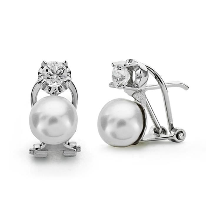 Boucled'oreille 18k or blanc perle de culture 7mm. [AA0103]
