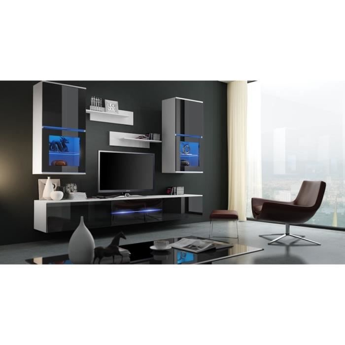meuble de salon meuble tv complet suspendu bilbao blanc et noir led meuble design et. Black Bedroom Furniture Sets. Home Design Ideas