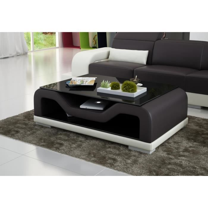 Table basse design en similicuir force 120 x 70 achat for Dimensions table basse
