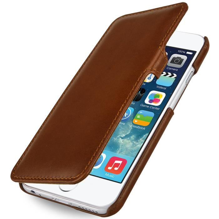 etui book type en cuir cognac pour iphone 6 achat vente tui gps etui book type en cuir cogn. Black Bedroom Furniture Sets. Home Design Ideas