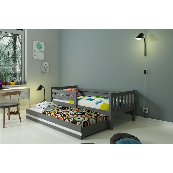 lit gigogne carino 190x80 gris avec matelas achat vente lits superpos s lit gigogne carino. Black Bedroom Furniture Sets. Home Design Ideas