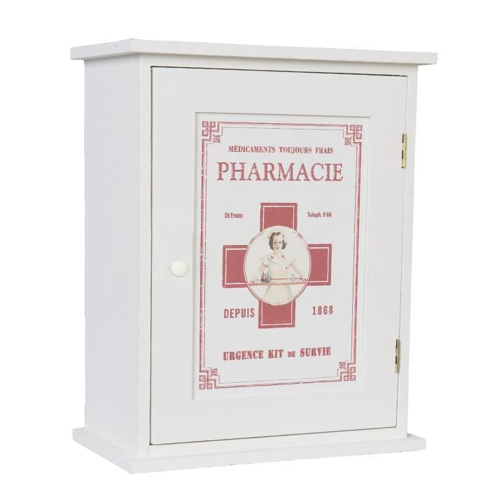 armoire pharmacie neuve blanche suspendre deco bois 30cm design vintage achat vente. Black Bedroom Furniture Sets. Home Design Ideas