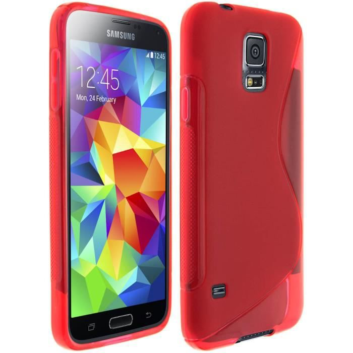coque silicone gel samsung galaxy s5 rouge achat coque. Black Bedroom Furniture Sets. Home Design Ideas