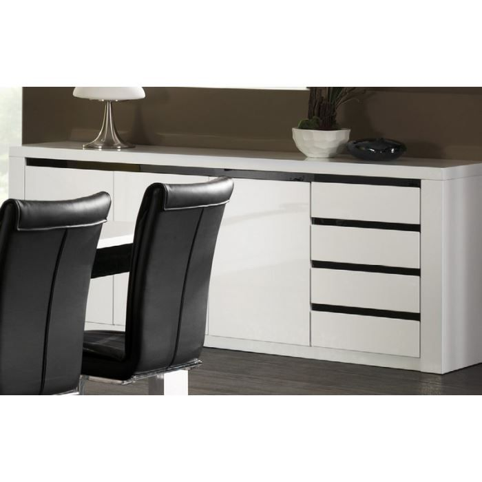 bahut laqu blanc et noir 39 eden 39 achat vente buffet. Black Bedroom Furniture Sets. Home Design Ideas