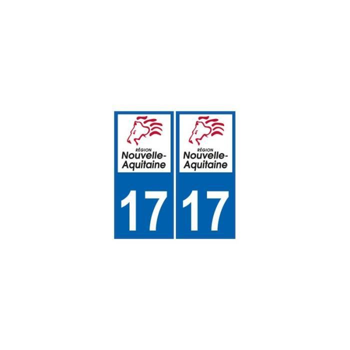 17 Charente-maritime Departement Immatriculation 2 X Autocollants Sticker Automobilia