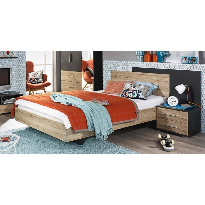lit enfant contemporain ch ne clair gris groove achat vente structure de lit soldes d t. Black Bedroom Furniture Sets. Home Design Ideas