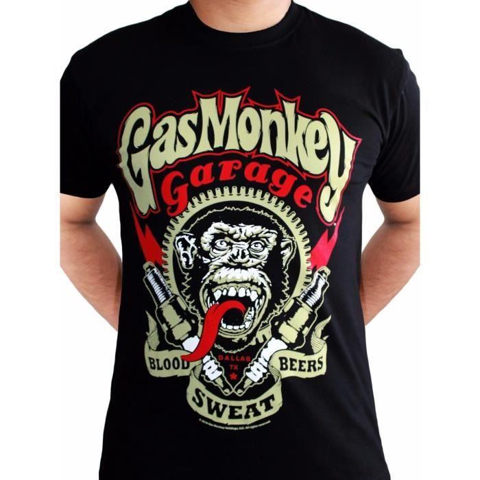 Gas Monkey Garage Homme noir noir Taille Unique T-shirt