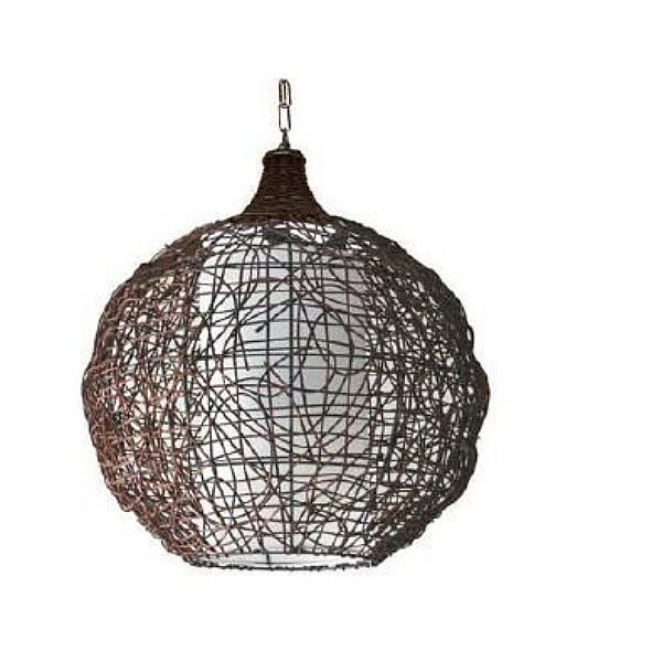 Suspension bompa marron en verre et rotin achat for Suspension rotin noir