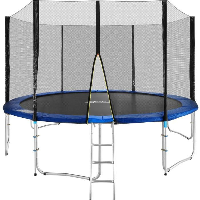 trampoline de jardin complet rond 366 cm avec filet de s curit et chelle adulte enfant. Black Bedroom Furniture Sets. Home Design Ideas