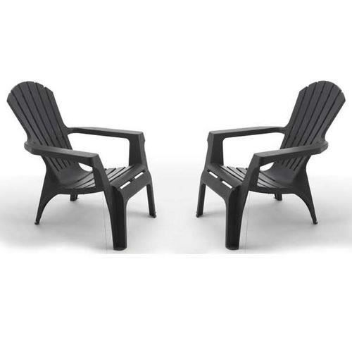 lot de 2 fauteuils adirondack anthracite achat vente fauteuil jardin lot de 2 fauteuils. Black Bedroom Furniture Sets. Home Design Ideas