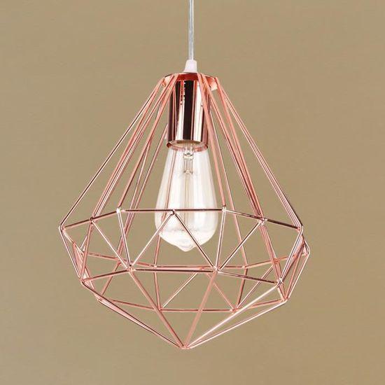 Lampe Suspension Moderne 20cm iDEGU /Él/égant Lustre Suspension en M/étal Abat-jour Luminaire en Forme de Cage Or rose