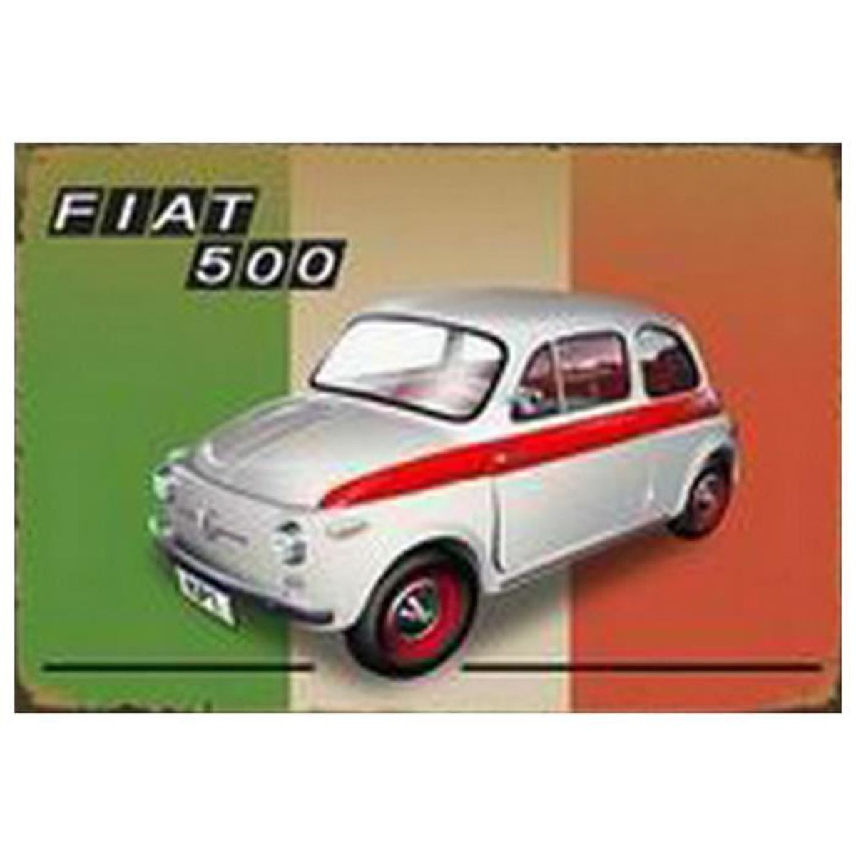 affiche plaque metal voiture legende eu fiat 500 achat vente objet d coration murale cdiscount. Black Bedroom Furniture Sets. Home Design Ideas