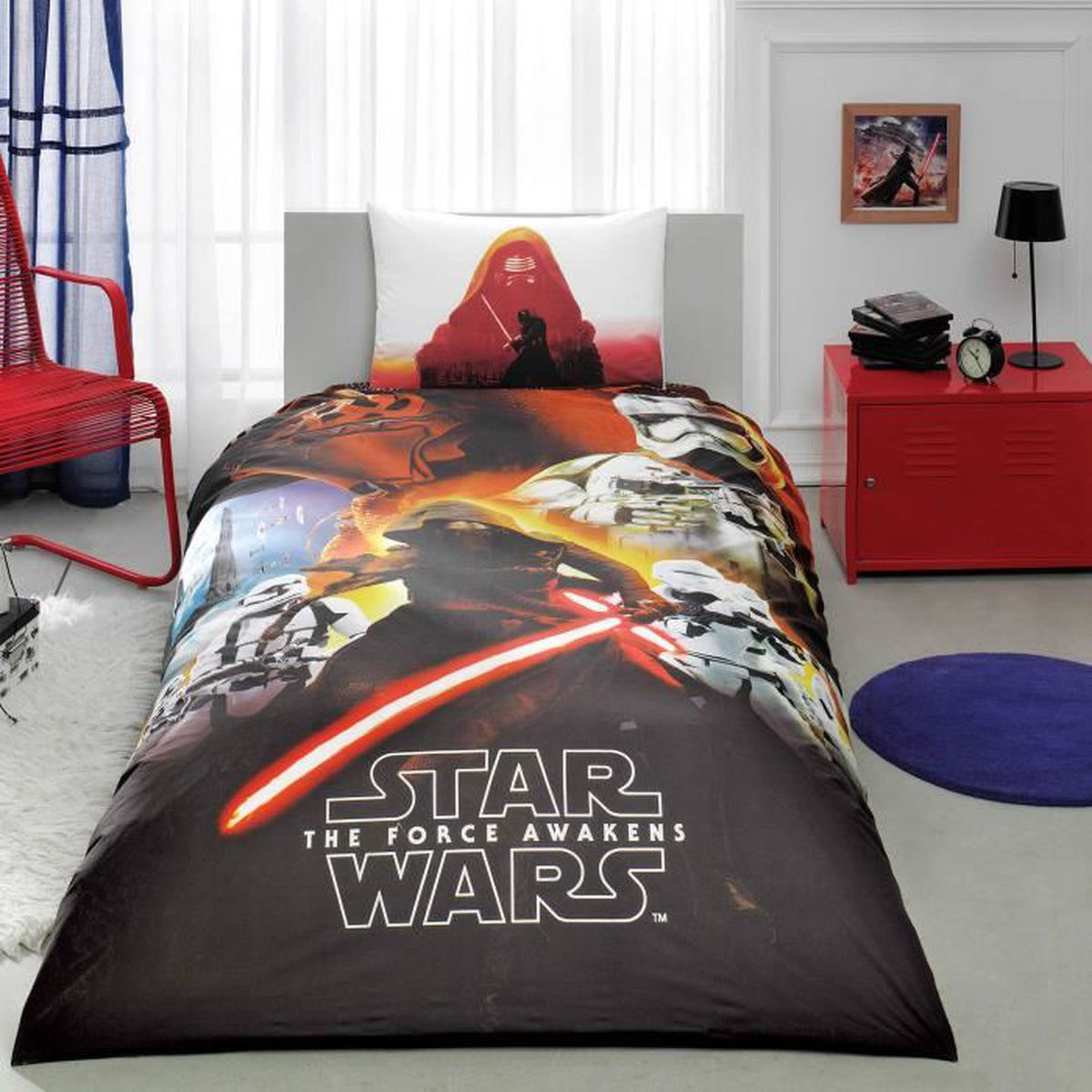 star wars movie imprim e 100 coton 1 personne parure de. Black Bedroom Furniture Sets. Home Design Ideas