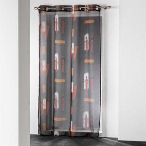 VOILAGE panneau a oeillets 140 x 240 cm voile imprime tran