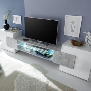 MEUBLE TV Meuble tv design blanc et effet béton LUXOR 2  San