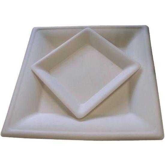 Vaisselle éco 10 pcs Assiette pulpe carrée 26cm