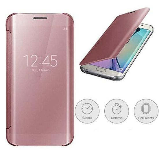 Coque Rabat Samsung Galaxy A3 2017 Rose Clear View