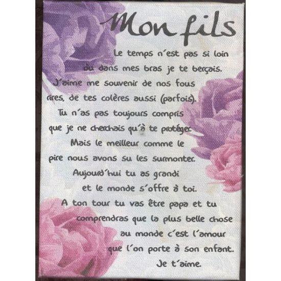 Poeme Sur Toile 17x11cm Mon Fils Achat Vente Objet
