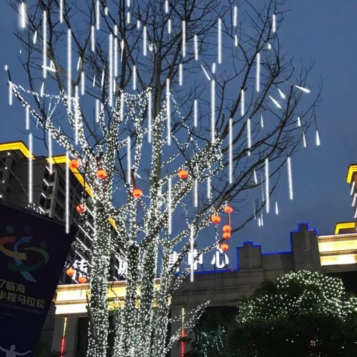 Guirlande solaire LED météores, guirlande lumineuse 8 lampes clignotantes, Tubes, décoration d'arbre de noël, 30cm [362F94D]