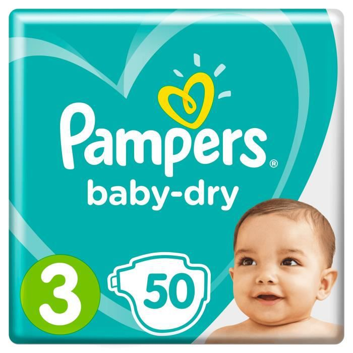 COUCHE Pampers Baby-Dry Taille 3, 6-10 kg - 50 Couches