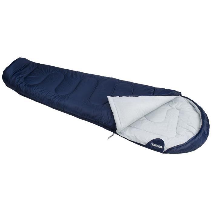 ABBEY CAMP Sac de couchage momie - 100% polyester - Température de confort : 10°C - 200 x 80cm - Bleu Marine