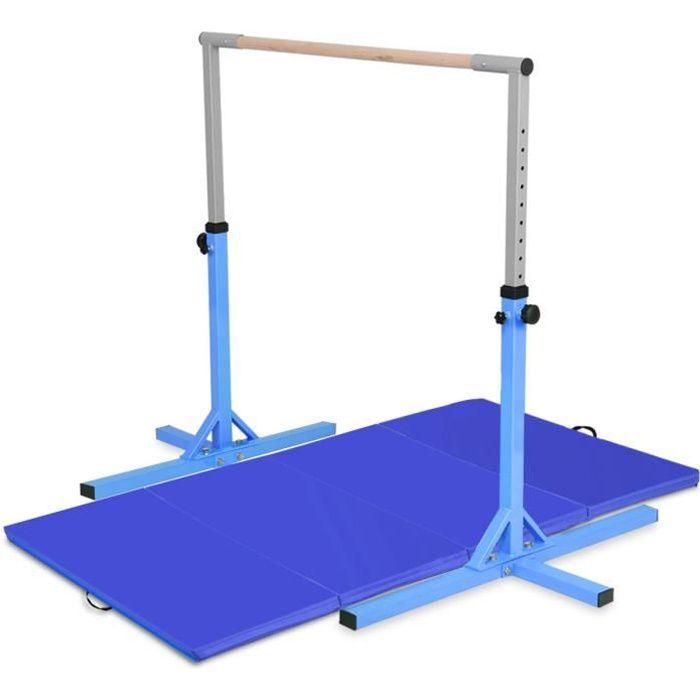 COSTWAY Barre de Gymnastique avec Tapis de Gymnastique Pliable 240 x 120 x 5CM Hauteur Réglable Capacité de poids 100KG pour Ecole