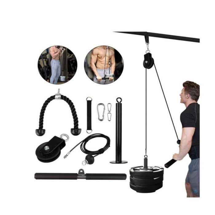 Poulie Musculation, Home Gym Corde Triceps Poulie pour LAT Pulldown Entraînement des Bras Cable Triceps LAT Tirer vers Bas Avant Bra