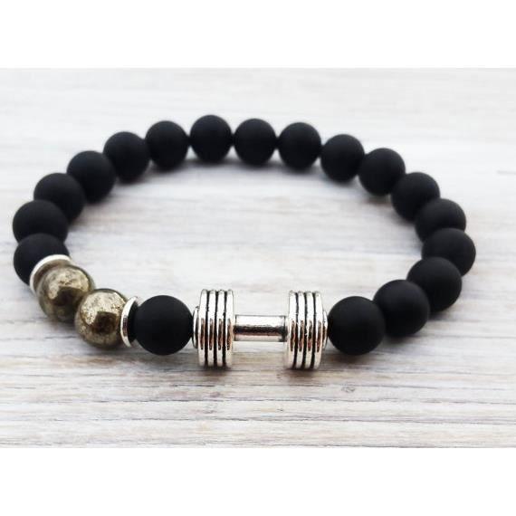 Bracelet Hmes haltère mat Onyx Pyrite Sptif Hmes haltère Gemstone Hmes Cadeaux_argent